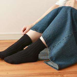 ほぼシルクの黒糸をたっぷり使って編み上げた「ゆったりリブ靴下」の履き心地は??