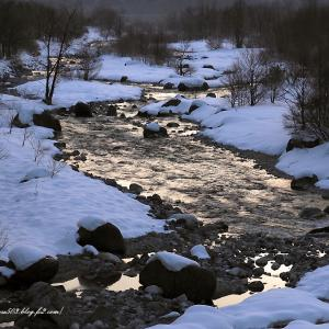 早朝の光輝く川の流れ