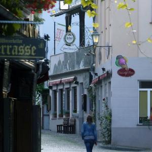 葡萄棚のあるリューデスハイムの街角
