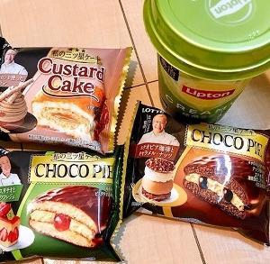 チョコパイ<ピスタチオと苺のフレジェ>カスタードケーキ<2種のマロンを使ったモンブラン>チョコパイ<エチオピア珈琲とキャラメル・ナッツ>