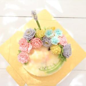 フラワーケーキ あんクリーム ベーシックコース2回目 M.Iさん