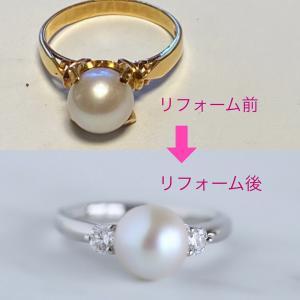 おばあさまのあこや真珠の指輪をお孫様のお嫁さんの指輪にリフォームしました。