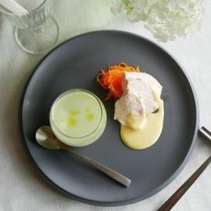 【7月対面レッスンメニュー①】枝豆冷製スープと茹で鶏 カレードレッシング