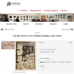 オメガオークションにて1977年のピストルズCROMER ギグのポスターとチケット30万円