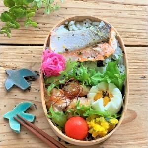 いただきもの と 鮭のソテーと鶏の漬け焼きのお弁当