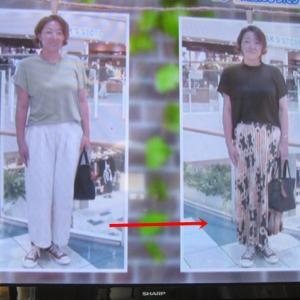 48歳主婦さん、スカーフ柄プリーツスカートの着こなし方ポイントは?