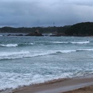 9月8日 伊勢 上下ビキニのみで入ったら青いアイツ出現で恐怖の波乗り