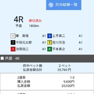 久しぶりの舟券勝負 芦屋競艇SGオーシャンカップ4R