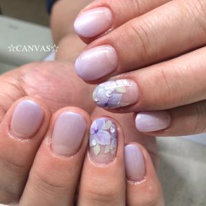 紫陽花ネイル&水滴アート
