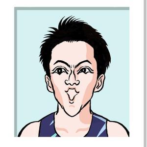 100m 9秒95 日本新記録 山縣亮太さんの似顔絵