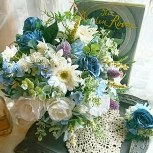 ホワイトブルーのウェディングブーケ!! (wedding)