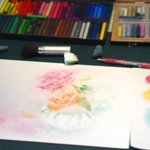 フラワーパステル画・花瓶にざっくり入れたお花が綺麗だったから