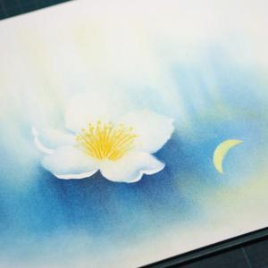 パステル 白いお花とお月さま インスピレーションは未来の自分からのメッセージ?