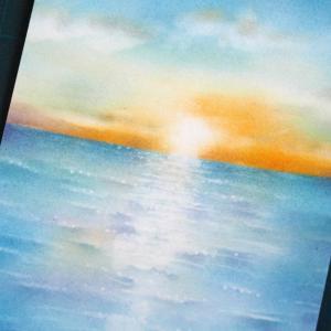 パステル 夕陽の海 オンライン継続レッスンだからできること