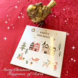 キルンアートクリスマス限定転写紙で…タイルワーク♪冬景色なのにホッコリ温かい風景♪