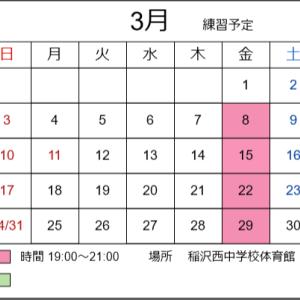平成31年3月の練習予定