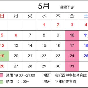 令和元年5月の練習予定 変更