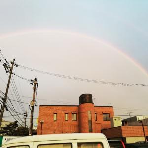 虹と朝ラン( ^ω^ )
