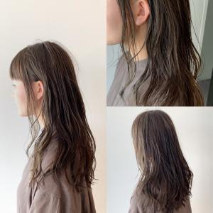 コテ風パーマ/色濃く透けるカラー