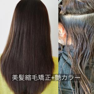 美髪縮毛矯正×艶カラー