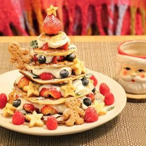 パンケーキタワー&松ぼっくりケーキ クリスマスの手作りおやつ/デザート