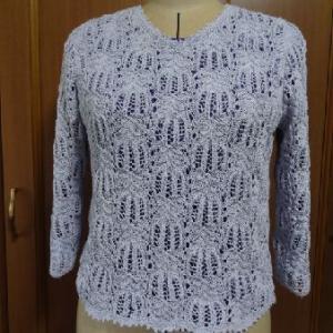 コットンコナ・薄紫のセーター完成&バラ