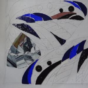 蝶のパネル・ガラスカット1