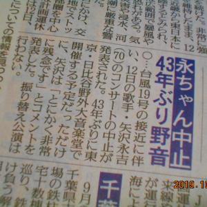 「残念無念。昨年の松山千春に続いて、矢沢永吉43年ぶりの日比谷野外大音楽堂公演も中止」S6436