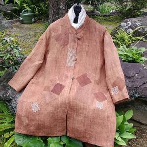 柿渋染めの麻のコート