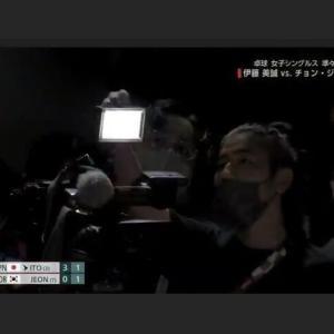 卓球女子の日本VS韓国戦で、伊藤美誠に韓国テレビカメラが眩しいナイトを当てる!強い光を見たら、陽性残像が暫く残り、見えにくくなる。