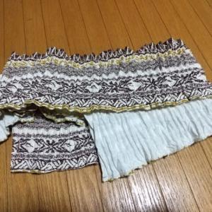 フラダンスの衣装からリメイク、オマケの可愛い巾着制作中➰