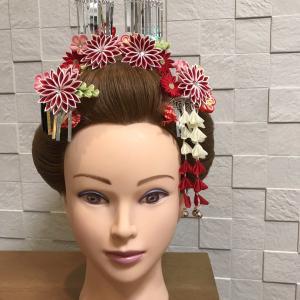 七歳女の子☆新日本髪で神社にお参り♪