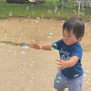 暑い陽射しの中、シャボン玉と遊ぶ孫たちと…