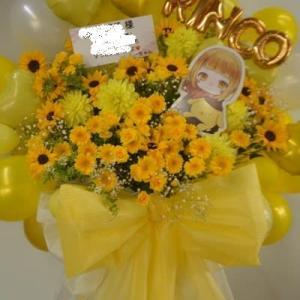 黄色メインのバルーンスタンド花