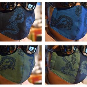 龍の柄の布マスク