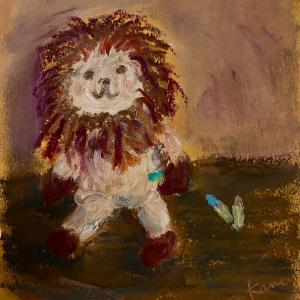気分転換にぬいぐるみのライオンを描きました