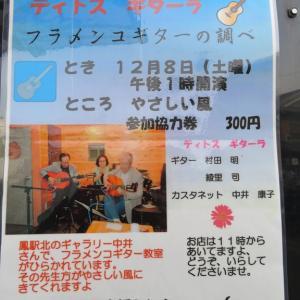 12月8日のフラメンコギターライブ&ティーサロンのサービス企画継続中