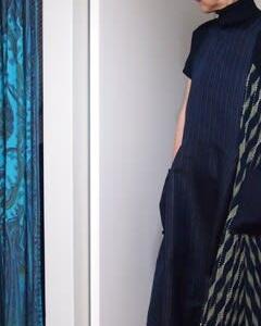 刺し子着物でリメイクジャンバースカート