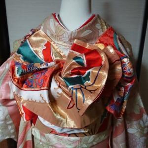 成人式の振袖と紋付袴の練習、タイムはもう一つです(^^;)