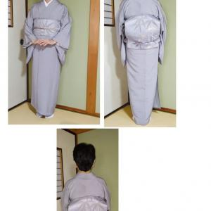 自宅のきもの教室(金曜日)、江戸小紋の自装と振袖の他装