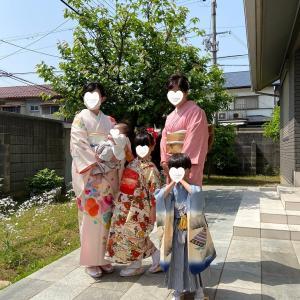 令和3年5月9日出張着付は堺市堺区、訪問着・色無地の着付&ヘアセット、6才女児の着付&ヘアセット、3歳男児の着付依頼でした。