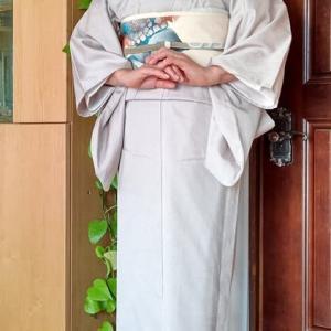 お召の着物に帯2本、薄手の紫陽花の塩瀬の帯は、そろそろ派手になりそうです。