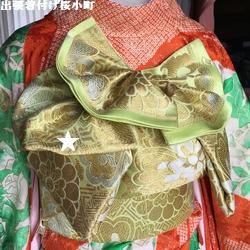 振袖帯結び、下にさげた帯巾半分の羽根。。いろいろ確認(*^^*)