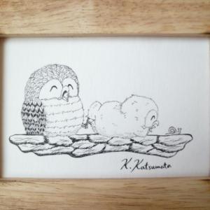 ペン画「ほっこりフクロウ」No.14&木彫「コツメカワウソ」