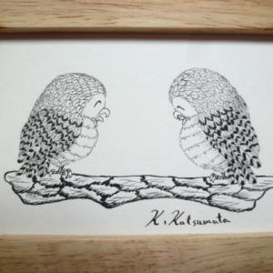 ペン画「ほっこりフクロウ」No.16