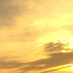 今日の空  一瞬金色に輝く夕空