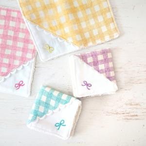 入園入学・出産祝いに♥️選べる!ギンガムチェック×リボン刺繍のミニタオル