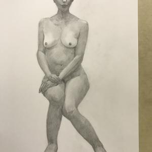 デッサン活動記録2017年2月22日(水)たのしい人物画 モデル夜子
