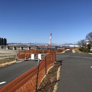 3月某日現在の多摩川(令和台風からの復旧状況)