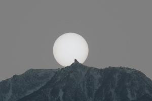 地蔵岳に沈む太陽